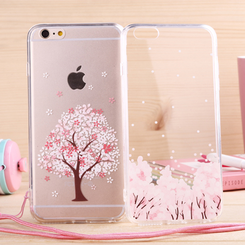 new arrival 5e993 1c66c US $3.69 |Newest fashion Japan sweet cherry blossom Phone Case soft TPU for  Apple iphone 6 Case 4.7'' Transparent back cover with lanyard on ...