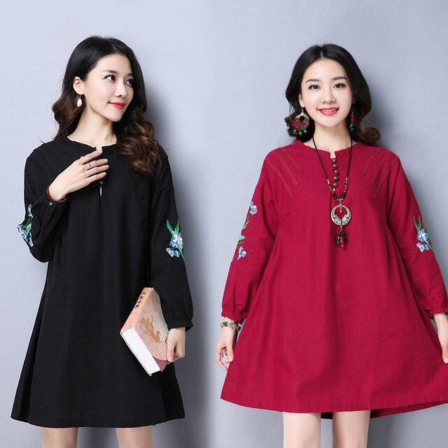 f81de482a8e46 2017 Spring Summer Retro Style Maternity Clothes Cotton Embroidery Large  Size Pregnant Women Dress Vintage Pregnancy Dress CE534