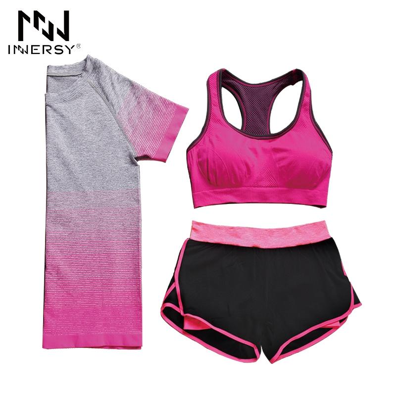 Prix pour Innersy (chemise + soutien-gorge + shorts) 3 pièces/ensemble Femmes Yoga Ensembles Courir Sport Ensemble Fitness Gym Sans Soudure Élastique costume Femmes Jzh144