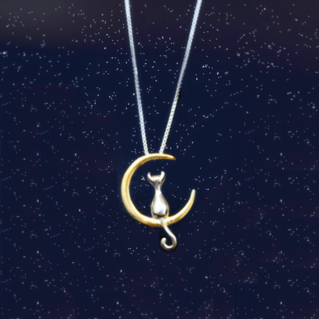 Women's Cat on Moon Shaped Necklace