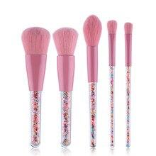 Pink Candy Transparent Handle Makeup Brushes 5 pcs Set