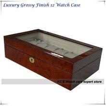 2014 новый лучший рождественский подарок Grossy отделка деревянный вахта дисплей чехол роскошные часы коробка прозрачная крышка 12 слотов GC02-LG3-12HZ / X