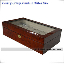 2014 New Best Christmas Gift Grossy Finish Wooden Watch Display Case Luxury Watch Box Clear Lid 12 Slots GC02-LG3-12HZ/X