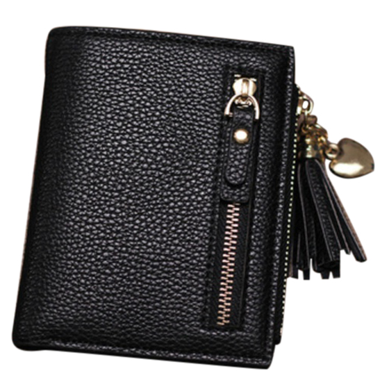 Fashion Fashion Women Short Wallets PU Leather Tassel Zipper Small Wallet Purse Cards Holder For Girls Women(Black)