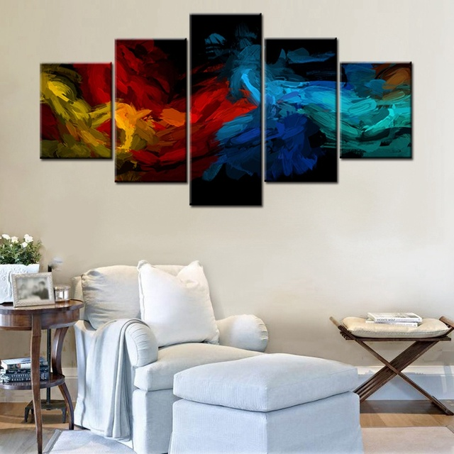5 Pieces Colorful Art Abstract Design Cool Artwork Decor For Office Home  Modular High Quality Canvas