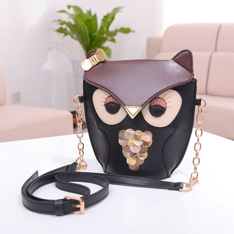 2018 Bags Fashion Handbag Chain Retro Xiekua Package On The Owl Bangalor Party Bags Black Leather Bag