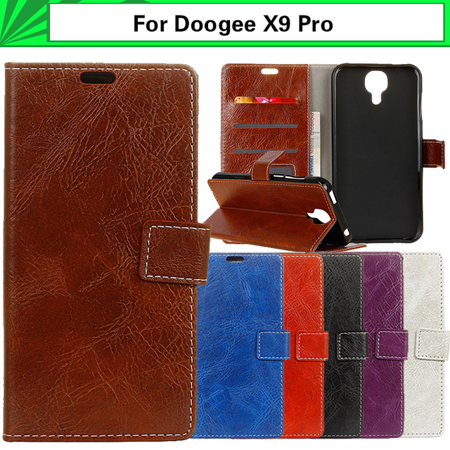 """EiiMoo Wallet Cover Case For Doogee X9 Pro Case PU Pure Color Book Style Leather Flip Cover For Doogee X9 Pro Phone Case 5.0"""""""