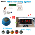 Restaurant Wireless Waiter Call System With 18pcs Table Bell M-blue And 1pc 4-digit Receiver K-303