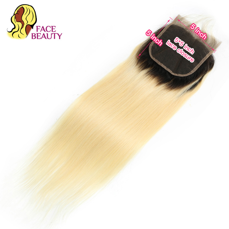 Facebeauty 5 x 5 Lace Closure 1B 613 Platinum Blonde Ombre Remy Peruvian Straight Human Hair