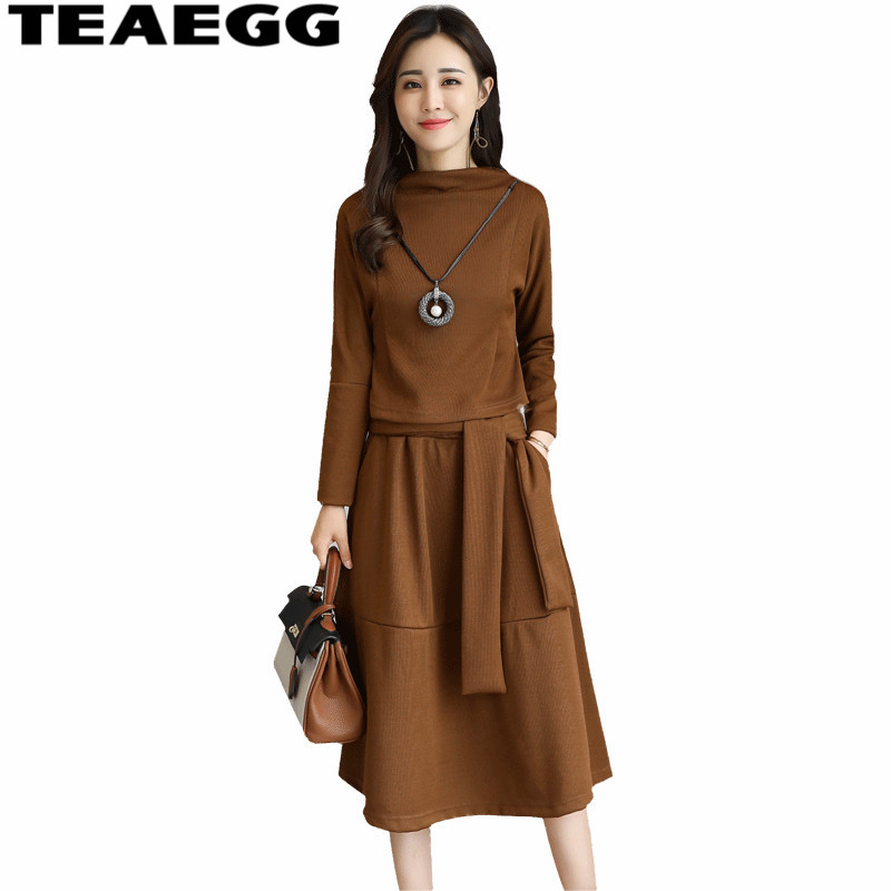 TEAEGG demi col roulé grande taille 3XL femmes robes automne Robe Vintage Robe Famale brun Vestido décontracté femmes vêtements AL227