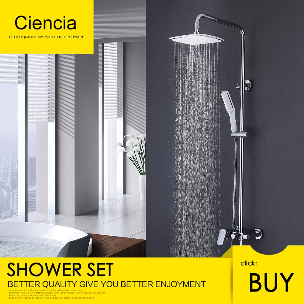 Free Shipping Brass Cienica Chrome Shower faucets set Waterfall wall shower mixer tap set rain shower heads with shower hose