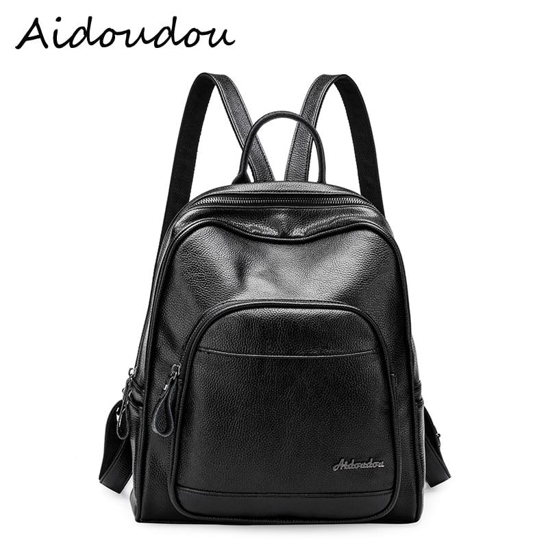Women Genuine Leather backpack fashion Striped Washed cowskin black bags for Teenage girls school bag Mochila