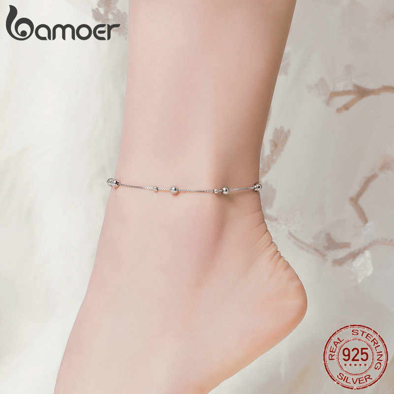bamoer Minimalist Round Beads Anklet Sterling Silver Chian Bracelet for Leg Female Foot Jewelry For Women Leg Chain SCT005