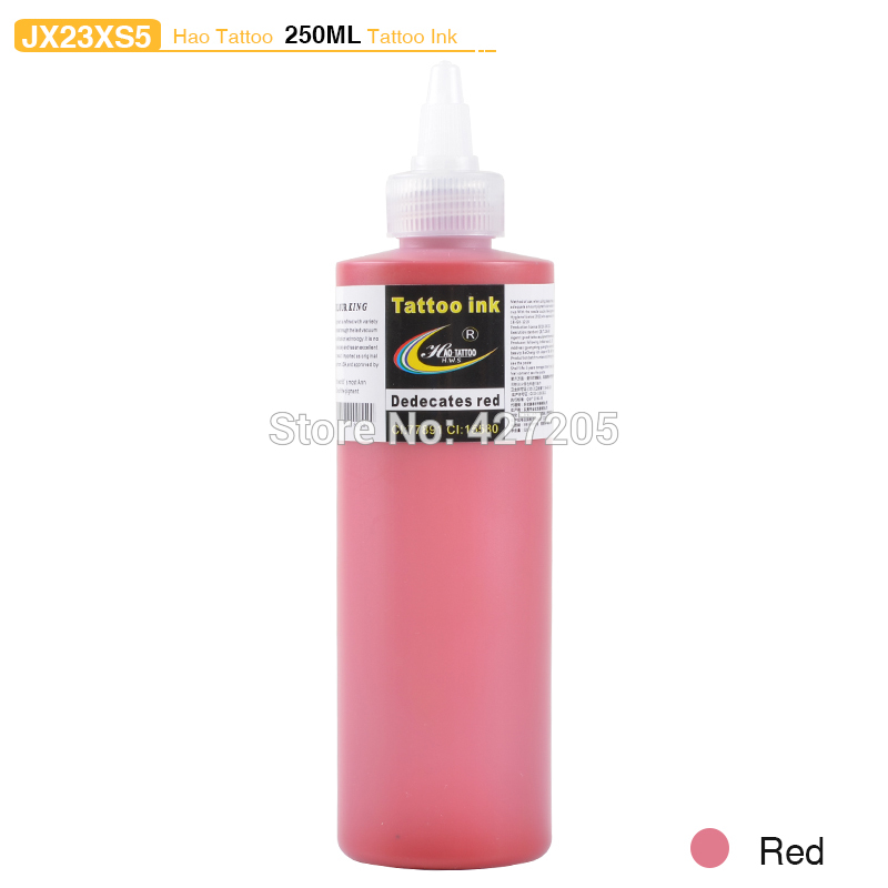 ФОТО Hao Tattoo JX23XS5 250ml/bottle Tattoo Ink Supply Red Color Top Pigment for Body Art Tattoo Kits Supplies