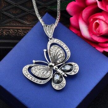 88db60e05a34 SINLEERY Vintage Cubic Zirconia Animal colgante de mariposa collar largo  cadena joyería de las mujeres accesorios MY124 SSB