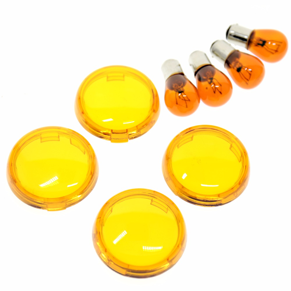 4 X Turn Signals Light Oranged Lens Cover With Light Bulb For 1986-2017 Harley Touring D ...