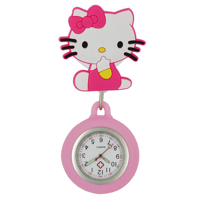 Cat lovely cartoon animal design scalable soft rubber nurse pocket watches ladie