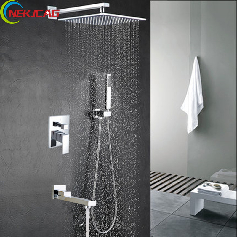 12Inch Stainless Steel Bathroom Shower Faucet In-Wall Bathroom Concealed Square Rainfall Head Shower with Rotary Spout