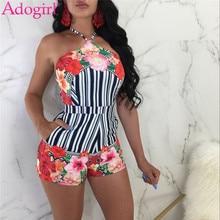 3e04f46e67 Adogirl Bloemenprint Gestreepte Mode Sexy Vrouwen Playsuits Halter Backless  Zomer Shorts Rompertjes Vrouwelijke Strand Dragen Cl..