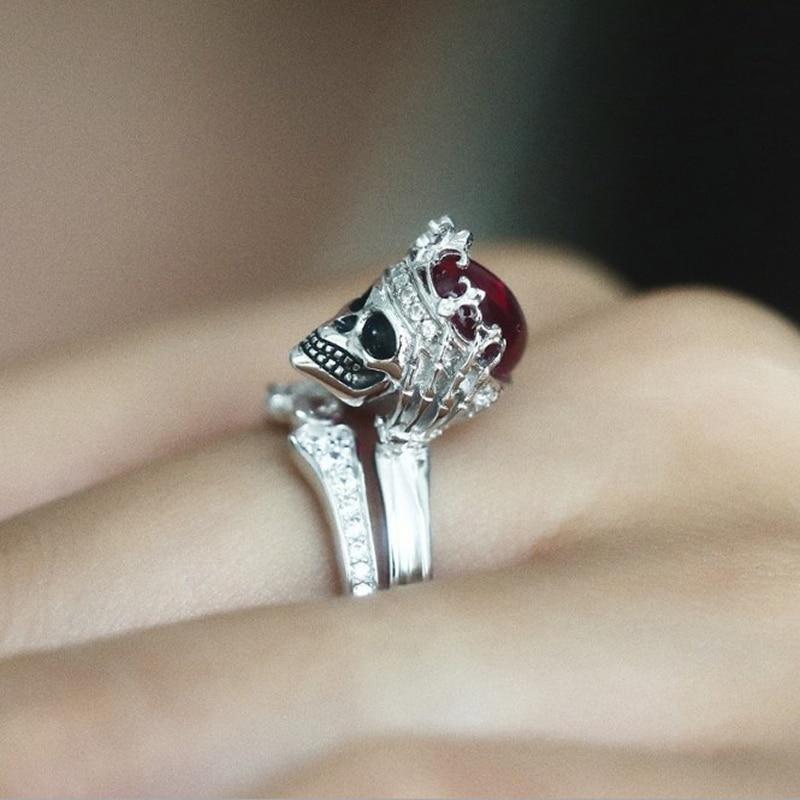 Корона кольцо череп панк-рок готические красный Cystal Свадебные Кольца для Для женщин кольцо серебряное пара кольцо Свадебные аксессуары юве... ...