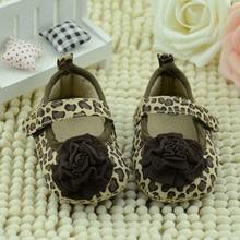 2015 Neugeborenes Mädchen Marke Party Schuhe Blume Säuglings Mädchen Schuhe Weiche Kleinkind Krippe Schuhe Baumwolle Kinder Prewalker leopardenmuster