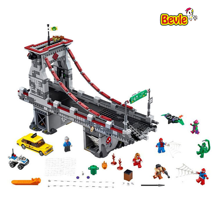 2017 New LEPIN 07038 Super Hero Spider-Man Web Warriors Ultimate Bridge Battle Building Block Gift For Children 76057 Toys lepin 07038 1165pcs super hero spiderman web warriors ultimate bridge battle building block compatible 76057 toys for boys gifts