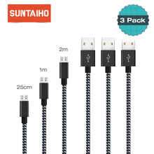 Micro USB Cable 2.4A [3 PACK] Charger Cable,Suntaiho Nylon Fast Charging Data Mobile Phone Cable for Samsung Android Phone
