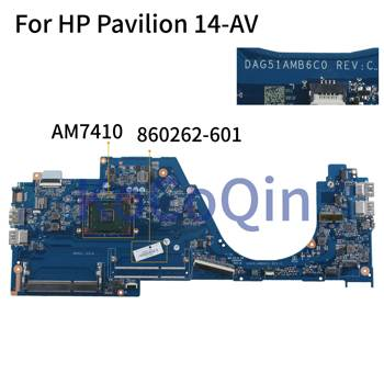 KoCoQin Laptop motherboard For HP Pavilion 14-AV Core A8-7410 Mainboard 860262-001 860262-601 DAG51AMB6C0 AM7410 CPU