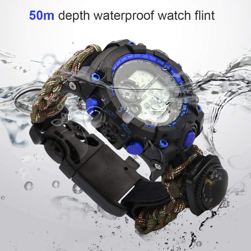 Outdoor Survival Watch Emergency Night Vision 50M Waterproof IP68 Survive Paracord Knife Compass Thermometer Whistles First Aid Kits  (8)