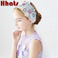 Main festival fête d'anniversaire floral voile bandeau fille artificielle fleur cheveux accessoires de mariage chapeaux jolie turban