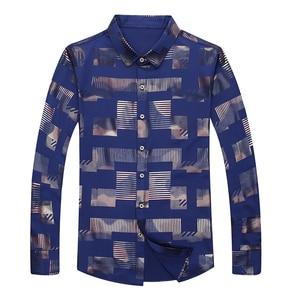 Image 4 - MIACAWOR chemise à manches longues pour hommes, vêtement imprimé, grande taille, style chemises décontractées, C457