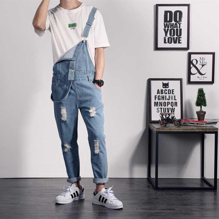 2019 männer Korean Fashion Slim Fit Cargo Casual Strumpf Hosen Jogger Jeans Overall-spielanzug Männer Vintage Denim Overalls 4XL