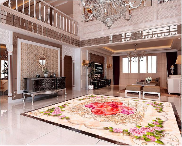 3d Floor Custom European Wallpaper 3d Flooring European Rose Kitchen Floor Tiles 3d Photo Wallpaper
