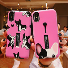Phone case For iPhone XS MAX XR X 6s 7 Plus Cover Cute Bulldog Soft Silicon Case Hide Ring Stand Holder 8