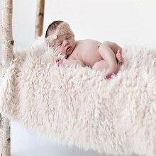 Newborn Faux Fur Wrap Baby Photography Props Blanket basket filler stuffer Photo Shoot baby fotografia Accessories 50*50