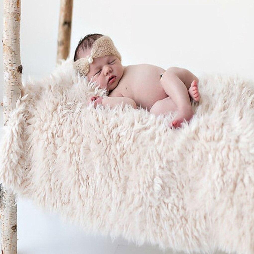 Recién Nacido abrigo de piel de imitación de bebé fotografía apoyos de fotografía de Manta recién nacido relleno de cesta embutidora foto disparar bebé fotografía accesorios 50*50