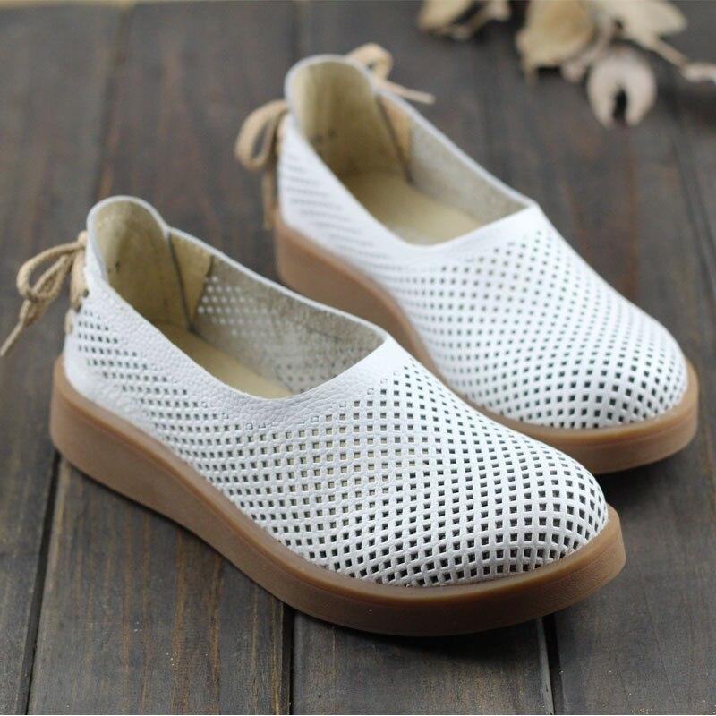 En Évider Plates Ceyaneao Sur D'été 3 1023 Glisser blanc Femmes Pour Véritable Chaussures Respirant Brown Bout Des Rond Femme Cuir XnfPqOXwr