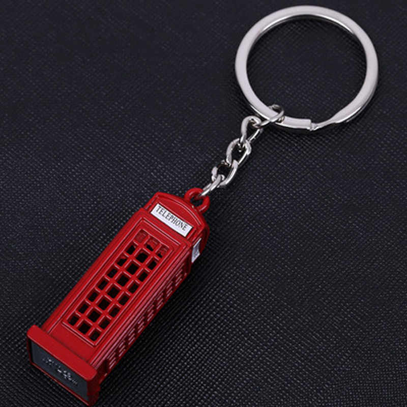 1PC Fashion Popular London Telephone Box Keychain British Red Telephone Booth Cute Key Ring For Souvenir Gift