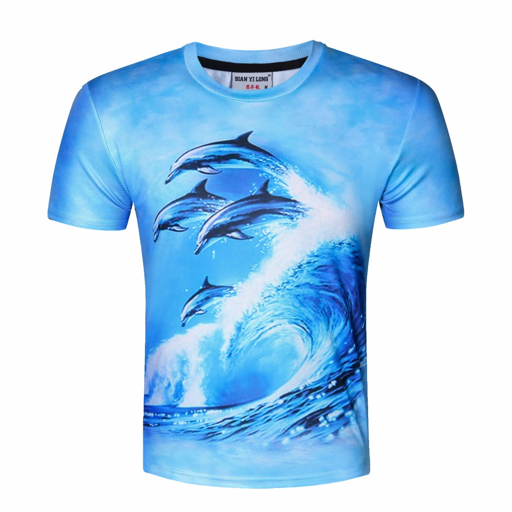 The new summer men's wear T-shirt, 3D dolphin digital printed short-sleeved T-shirt.