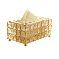 European Style Metal Crystal Tissue Box Removable Tissue Tissue Napkin Holder Kitchen Living Room Dining Room Decoration
