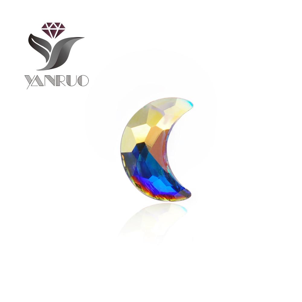 YANRUO 72st 5X8mm Crystal AB 3D Crescent Moon Nail Art Rhinestone - Nagel konst