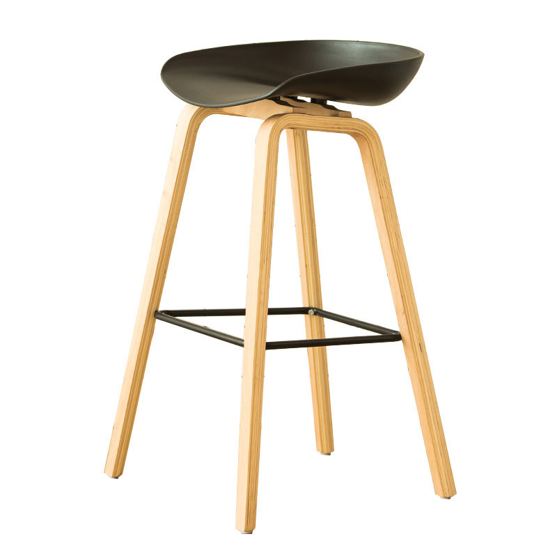 Simple Style Solid Wood Bar Chair Multi-function Dining Stool With Footrest Household Balcony Leisure Chair Front Desk Stool