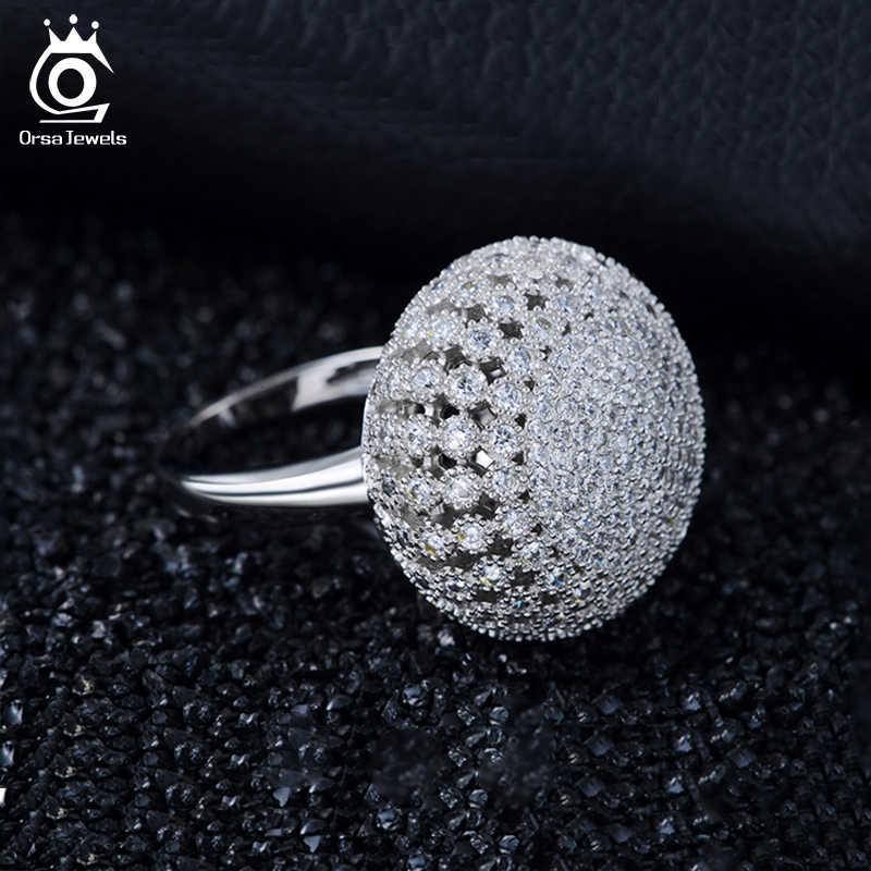 ORSA JEWELS женское большое кольцо в форме гриба 2 мм серебристый цвет ААА Циркон преувеличенный стиль круглой формы d Винтажное кольцо ювелирные изделия AOR48