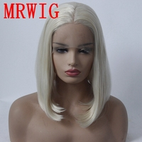 MRWIG #60 White Blonde Short Bob Straight 12in Real Pic Hair Glueless Front Lace Wig for African Americans