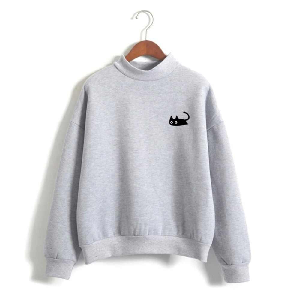 귀여운 자수 고양이 후드 여성 스웻 셔츠 하라주쿠 오목 코트 가을 겨울 여성 캐주얼 풀오버 스웨터 fenimina 탑스