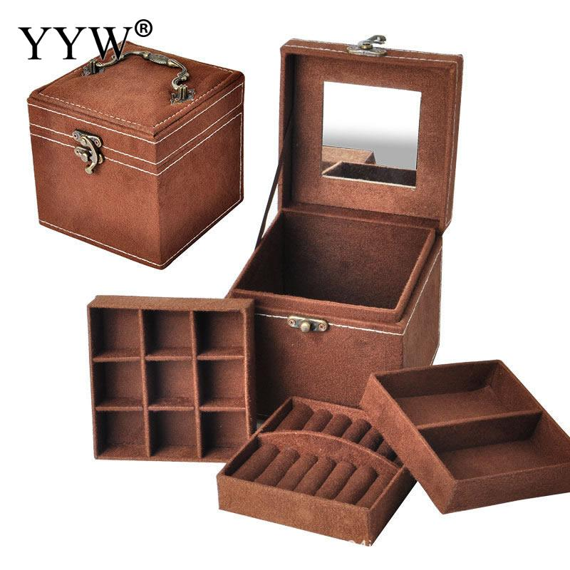 12x12x12cm Vintage Velvet Three-Tier Jewelry Box Multideck Storage Cases With Wood Mirror High Quality Wedding Birthday Gift