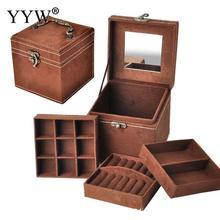 12x12x12cm Vintage Velvet Three-Tier Jewelry Box Multideck Storage Cases with Wood Mirror High Quality Wedding Birthday Gift