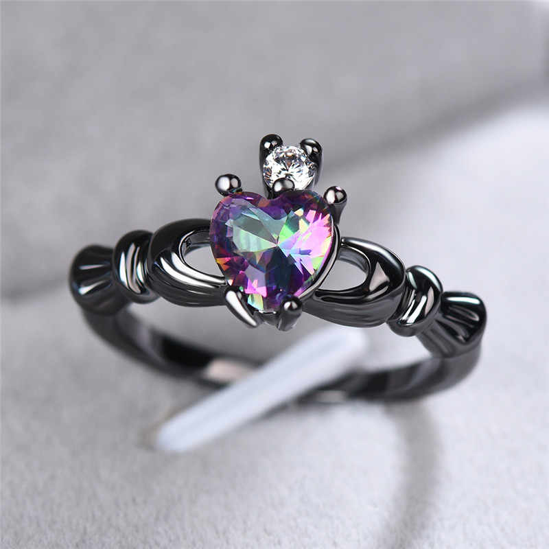 Boho женское кольцо в форме сердца с короной радуги, кладдахские кольца для женщин, винтажные панк, Черное золото, пара ювелирных изделий