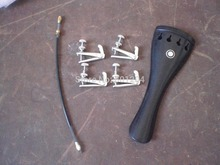 1 PC EBONY Violin tail piece 4/4 with Silver Fine tuners and tail gut