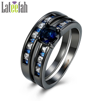 Lateefah Newest Black Gold Filled Rings Set For Women Blue And White Cubic Zirconia Personalized Stylish